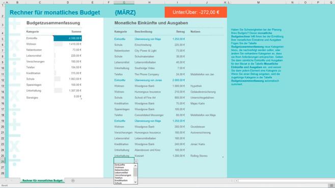 Rechner für Monatsbudget (Excel-Vorlage) ©COMPUTER BILD