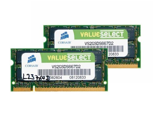 Corsair DDR2 Value Select 2GB (2 x 1GB) SO-DIMM Kit 667MHz PC2-5300 CL5 (VS2GSDSKIT667D2): DDR2-Speichermodul