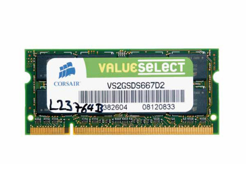 Corsair DDR2 Value Select 2GB SO-DIMM 667MHz PC2-5300 CL5 (VS2GSDS667D2): DDR2-Speichermodul