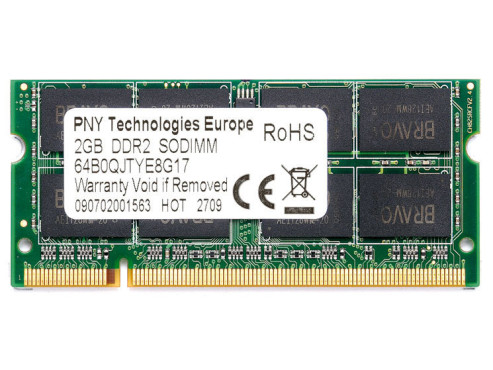 PNY OptimaRAM DDR2 2GB SO-DIMM 800MHz PC2-6400 CL5 (SODI102GBN/6400/2-BX): DDR2-Speichermodul