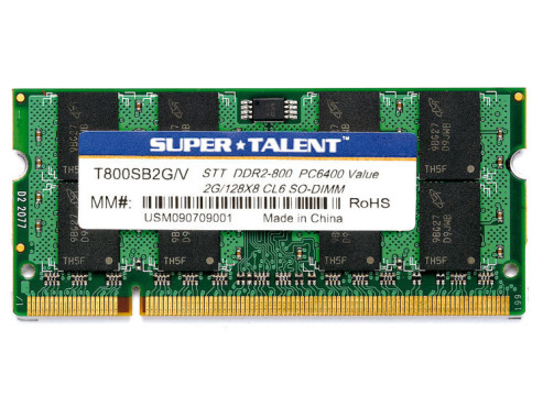 Super Talent  DDR2 2GB SO-DIMM 800MHz PC2-6400 CL6 (T800SB2G/V): DDR2-Speichermodul