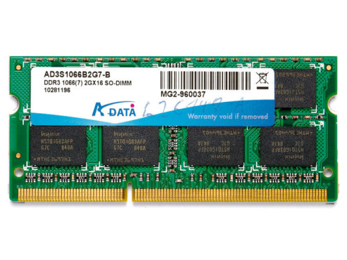 A-Data DDR3 2GB SO-DIMM 1.066MHz PC3-8500 CL7 (AD3S1066B2G7-B): DDR3-Speichermodul