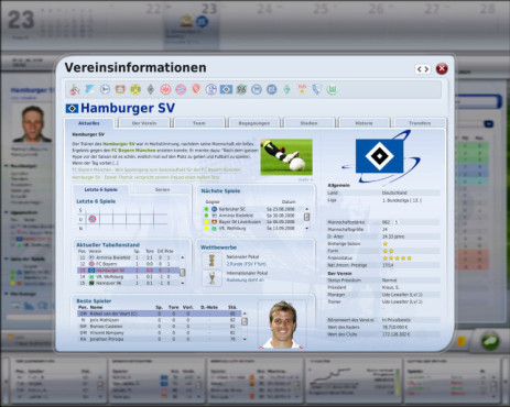 Managerspiel Fu�ball Manager 09: Clubinfo