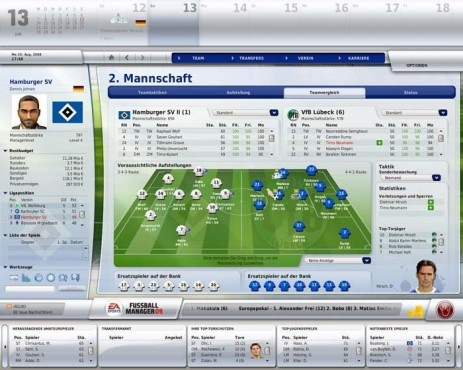 Managerspiel Fu�ball Manager 09: Reserve