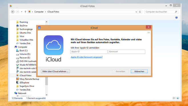 iCloud Control Panel for Windows © COMPUTER BILD