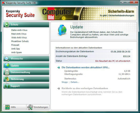 Kaspersky Security Suite: Updates