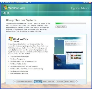 Windows Vista Upgrade Advisor: Eignungstest