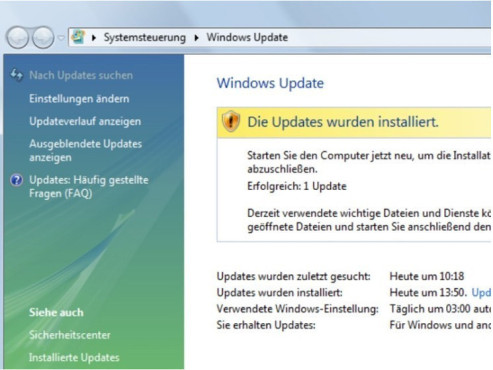 Service Pack 1 für Windows Vista