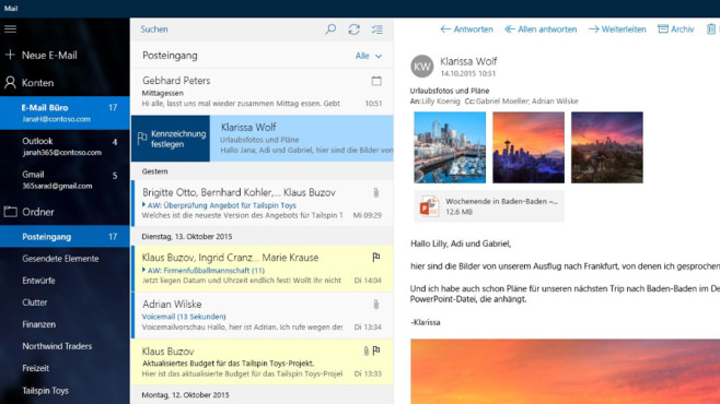 Mail, Kalender und Kontakte (App f�r Windows 10 & 8, Office) © COMPUTER BILD