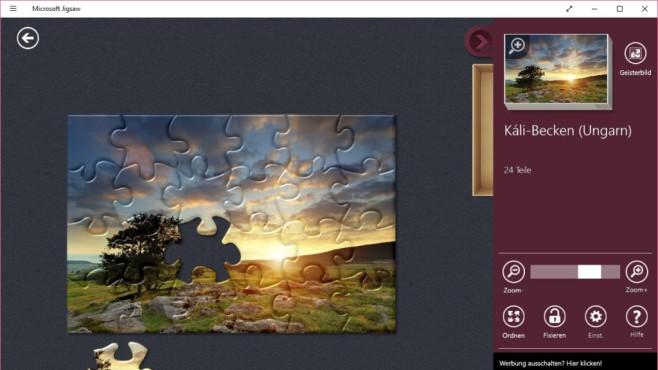 Microsoft Jigsaw (App für Windows 8 & 10, Unterhaltung) ©COMPUTR BILD