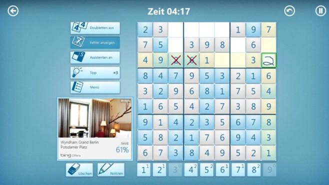 Microsoft Sudoku (App für Windows 10 & 8, Unterhaltung) ©COMPUTER BILD