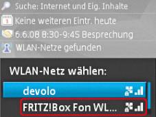 WLAN per Nokia-Handy Wählen Sie das von ihnen verwendete WLAN-Netz aus.