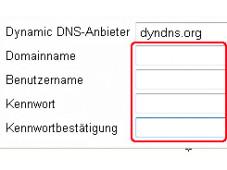 Per Internet auf die Festplatte an der heimischen Fritz Box zugreifen �bertragen Sie die Daten ihres DynDNS-Accounts in das Men� der Fritz Box. ©COMPUTER BILD