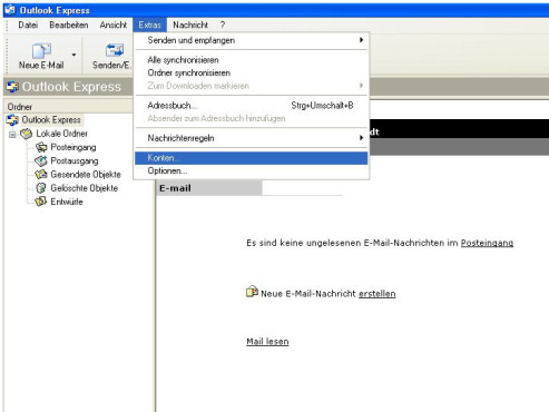 Microsoft Outlook Express: E-Mail-Konto einrichten