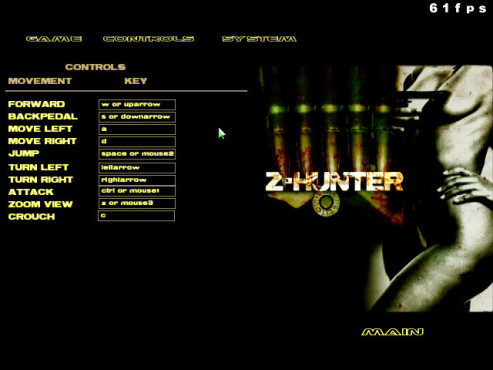 Doom-3-Mod Z-Hunter: Kontrollmenü © id Software