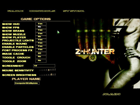 Doom-3-Mod Z-Hunter: Menü © id Software