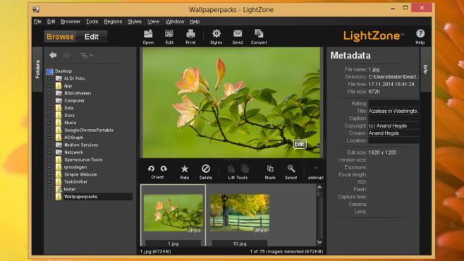 LightZone: Fotos verwalten und bearbeiten