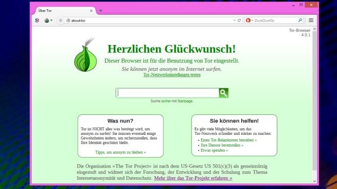 Tor-Browser-Paket: Firefox mit eingebauter Anonymisierung