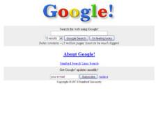 Suchmaschinen-Jubil�um: Zehn Jahre Google Google.com im Herbst 1998: Kaum ver�ndert in zehn Jahren.