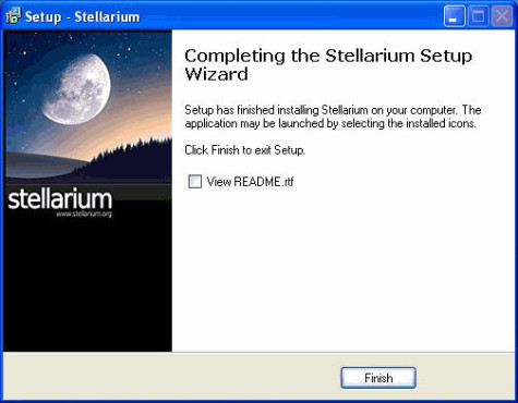 Software – Stellarium: Installationsende
