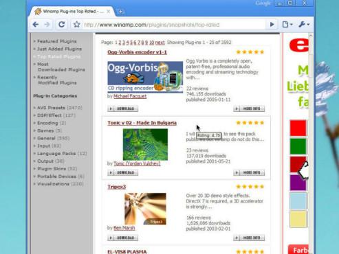 Winamp-Homepage Erweiterungen