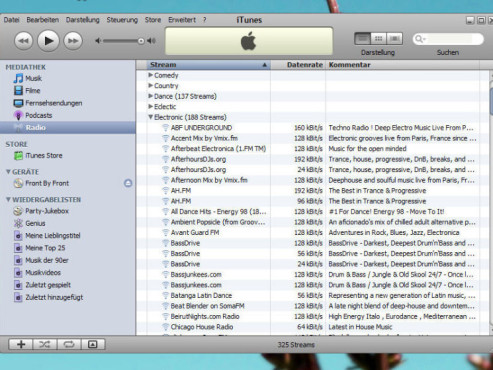 iTunes Screenshot Internet-Radiostationen