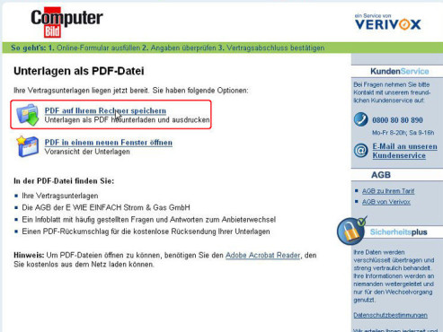 Gas Tarifrechner PDF Download © COMPUTER BILD, Verivox