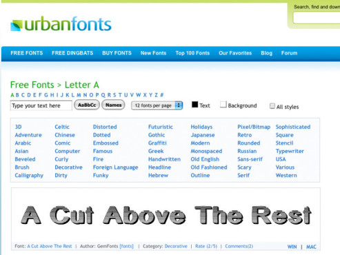 Gratisfonts: Urban Fonts ©urbanfonts