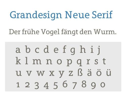 Gratis-Schriften zum Herunterladen Grandesign Neue Serif ©COMPUTER BILD