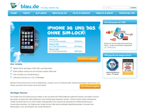iPhone 3GS bei blau.de
