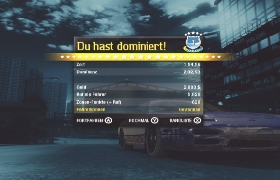 Rennspiel Need for Speed – Undercover: Tabelle