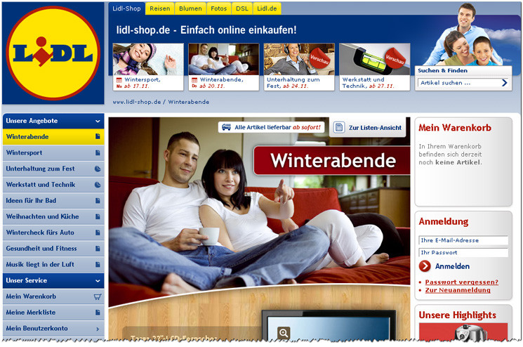 lidl online shop mit schn ppchen gestartet computer bild. Black Bedroom Furniture Sets. Home Design Ideas