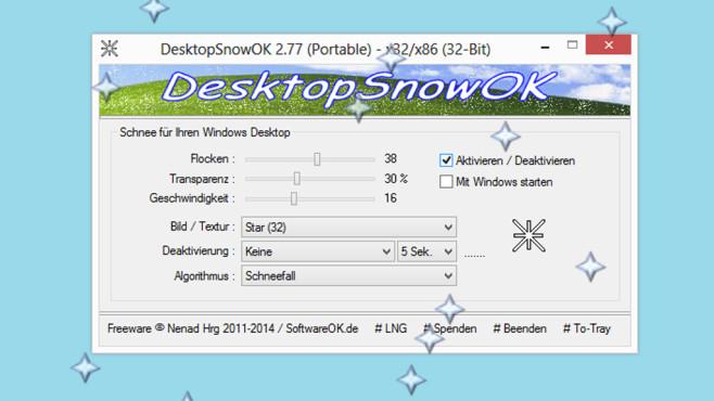 DesktopSnowOK: Virtuellen Schnee erzeugen ©COMPUTER BILD