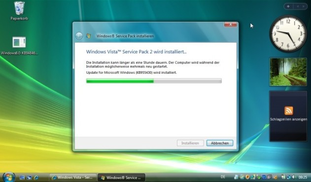Windows Vista Service Pack 2 Beta: Installation