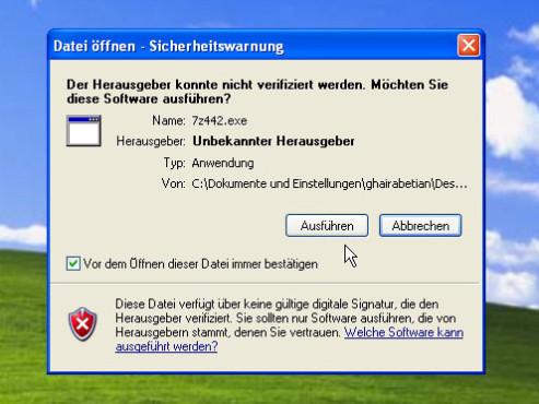 Datenkomprimierung mit 7-Zip: Datei ausführen