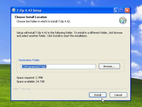 Datenkomprimierung mit 7-Zip: Installation