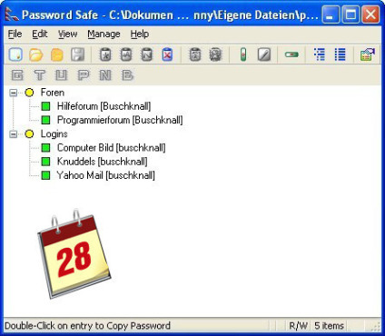Software-Kalender: Password Safe