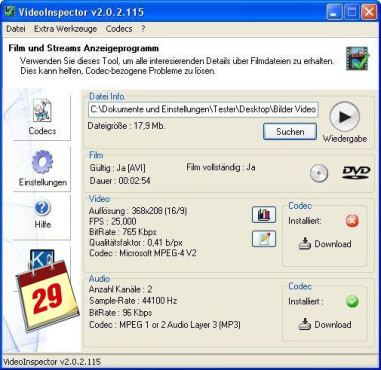 Software-Kalender: VideoInspector