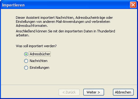 Thunderbird – Import-Funktion