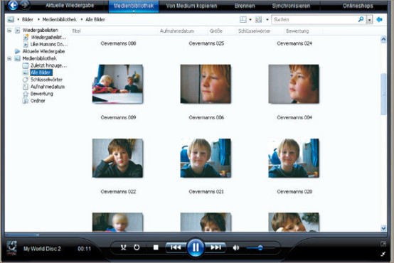 Media Player 11: Fotoanzeige