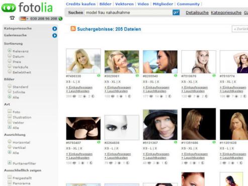Homepage von Fotolia