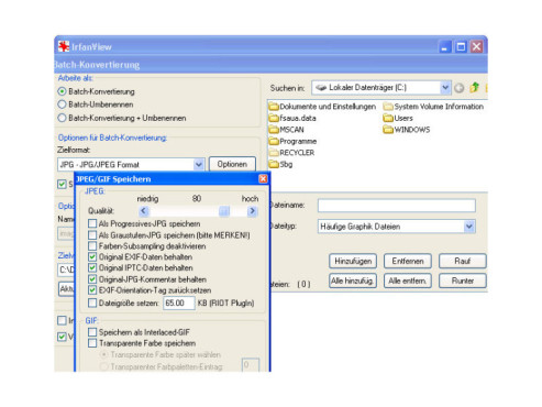 Dateiformat einstellen
