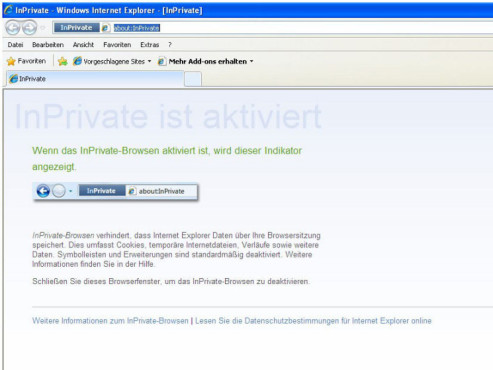 Internet Explorer 8: InPrivate-Modus
