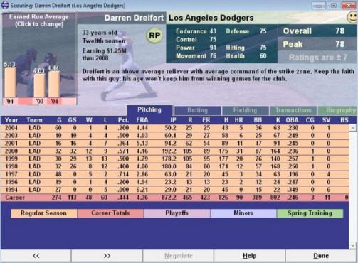 Baseball Mogul 2006 ©Sports Mogul