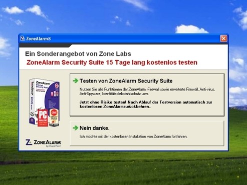 Werbefenster: ZoneAlarm