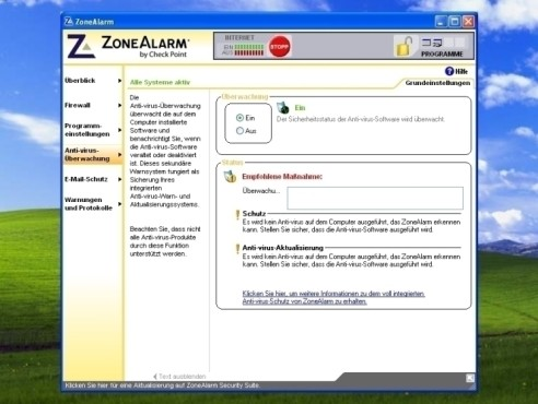 ZoneAlarm: Anti-Virus-Überwachung