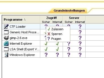ZoneAlarm: Programmeinstellungen