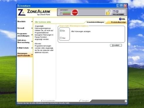ZoneAlarm: Warnungen und Protokolle