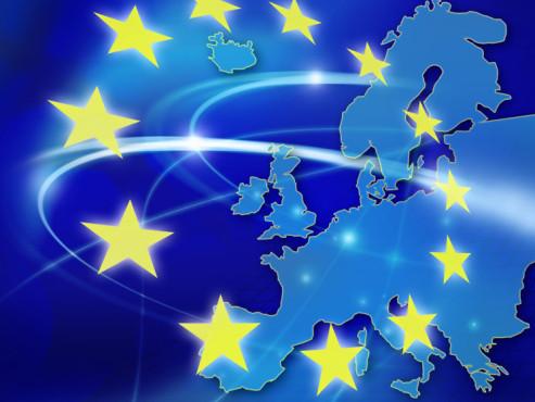 Europa-Karte mit EU-Flagge