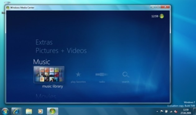 Windows 7: Media Center Musik